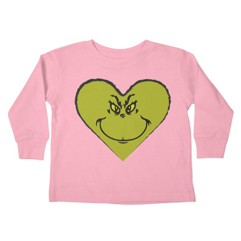 Grinch heart Kids Toddler Longsleeve T-Shirt by daniac's Artist Shop