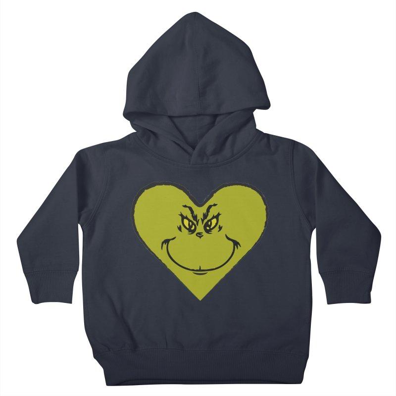 Grinch heart Kids Toddler Pullover Hoody by daniac's Artist Shop