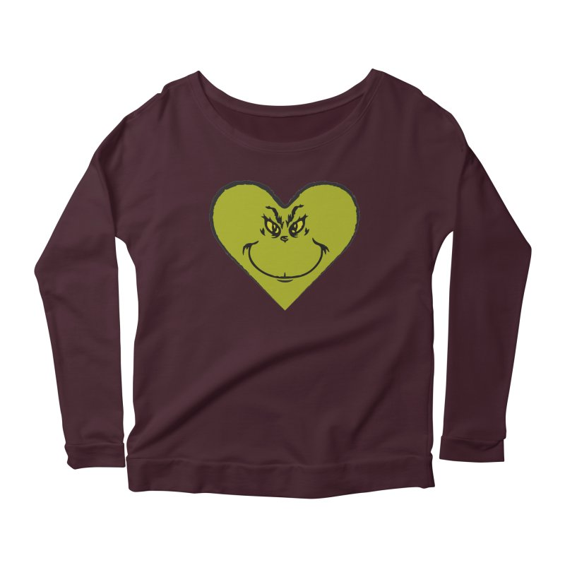 Grinch heart Women's Longsleeve T-Shirt by daniac's Artist Shop