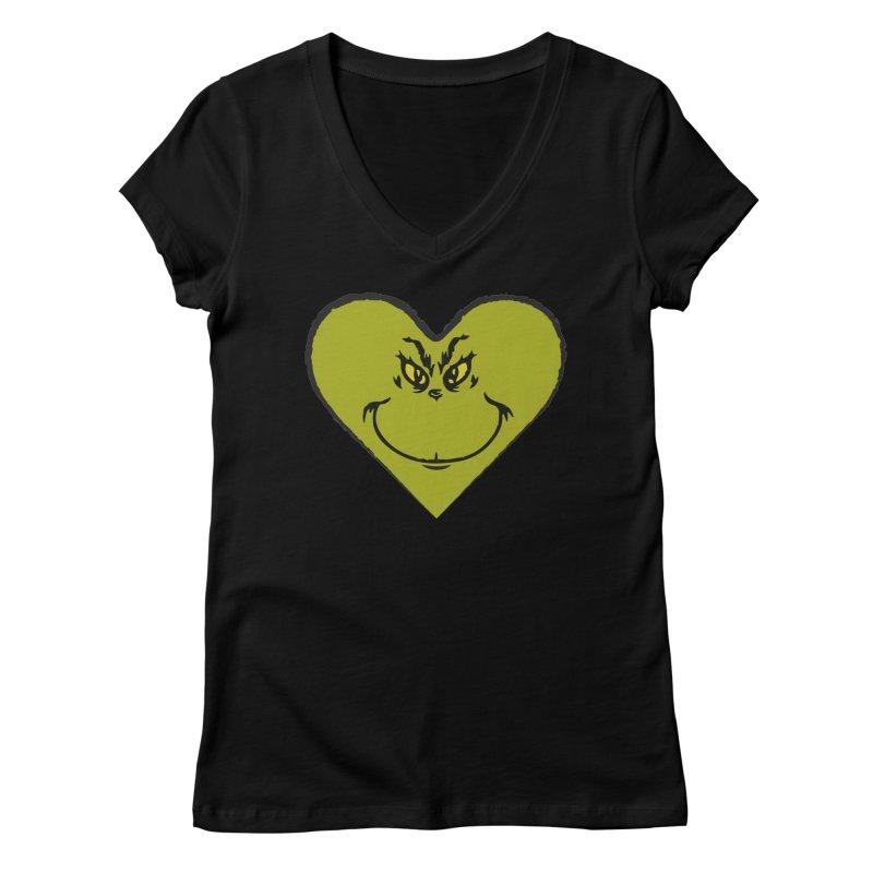 Grinch heart Women's V-Neck by daniac's Artist Shop