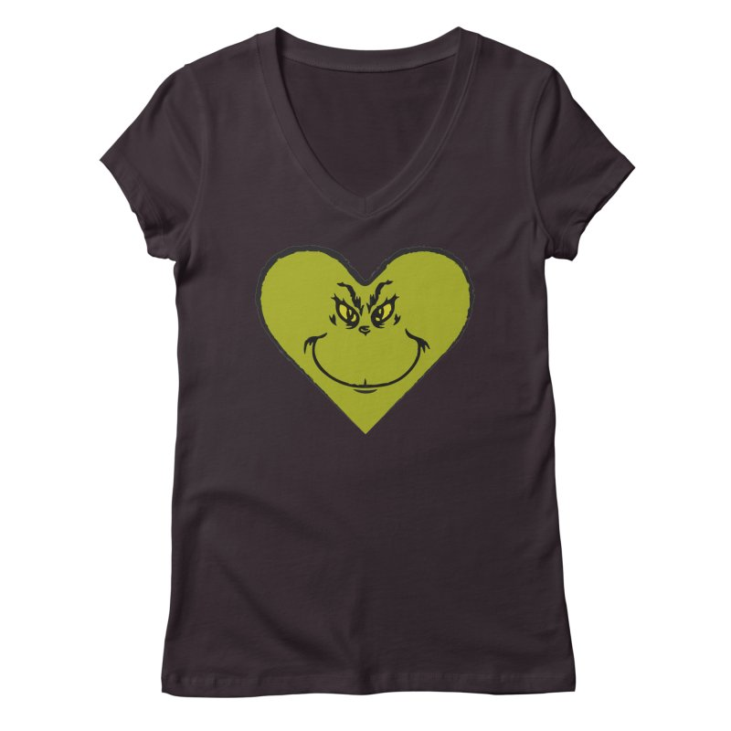 Grinch heart Women's Regular V-Neck by daniac's Artist Shop