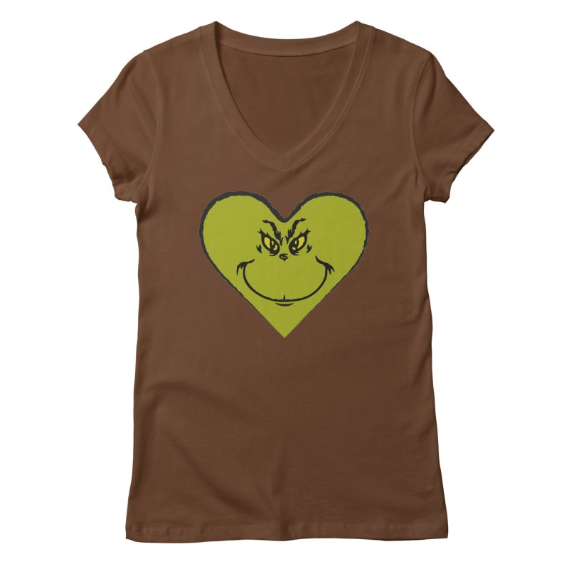 Grinch heart Women's Regular V-Neck by daniac's Artist Shop
