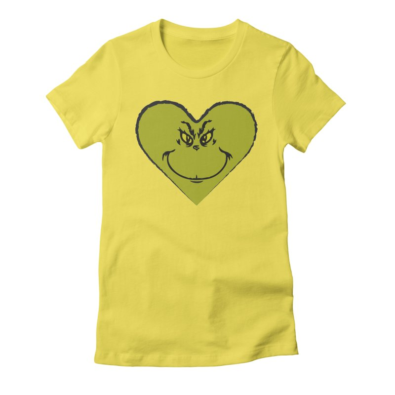 Grinch heart Women's Fitted T-Shirt by daniac's Artist Shop
