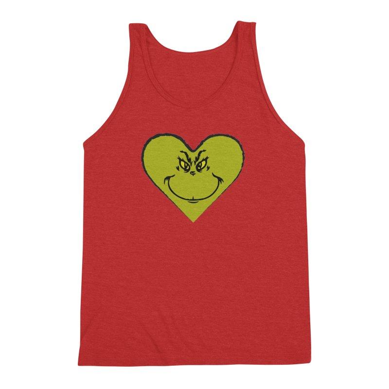Grinch heart Men's Triblend Tank by daniac's Artist Shop