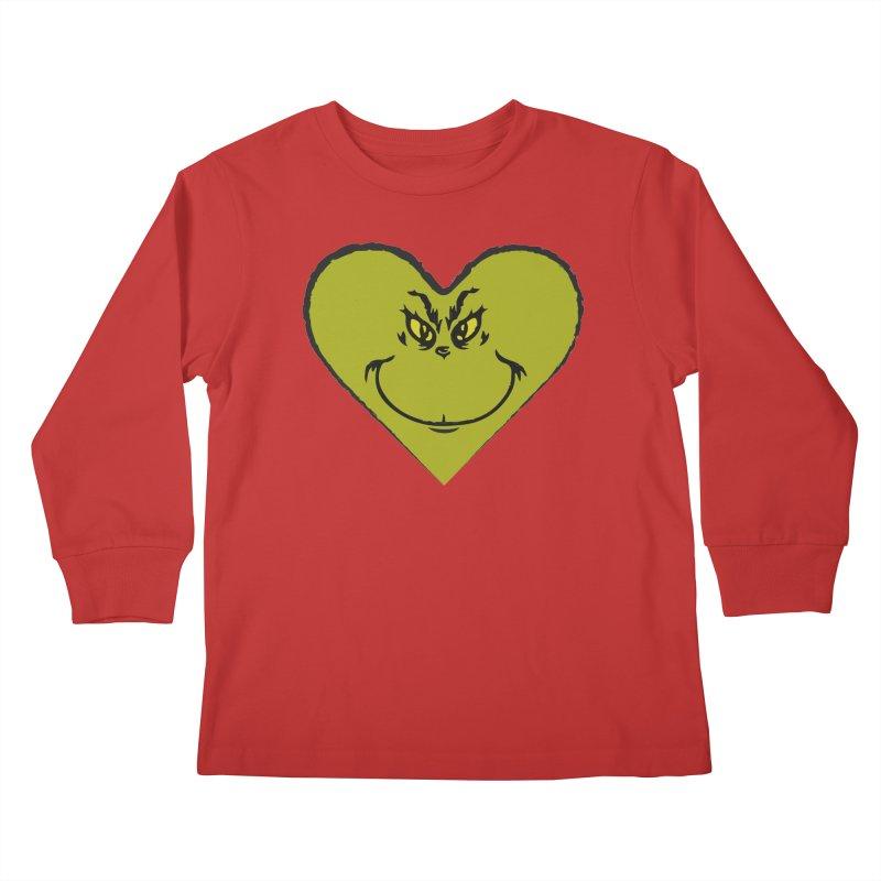 Grinch heart Kids Longsleeve T-Shirt by daniac's Artist Shop