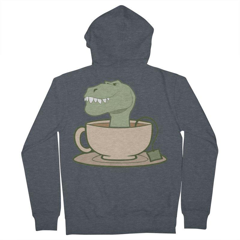 Tea Rex Men's French Terry Zip-Up Hoody by daniac's Artist Shop