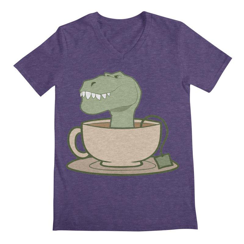 Tea Rex Men's Regular V-Neck by daniac's Artist Shop
