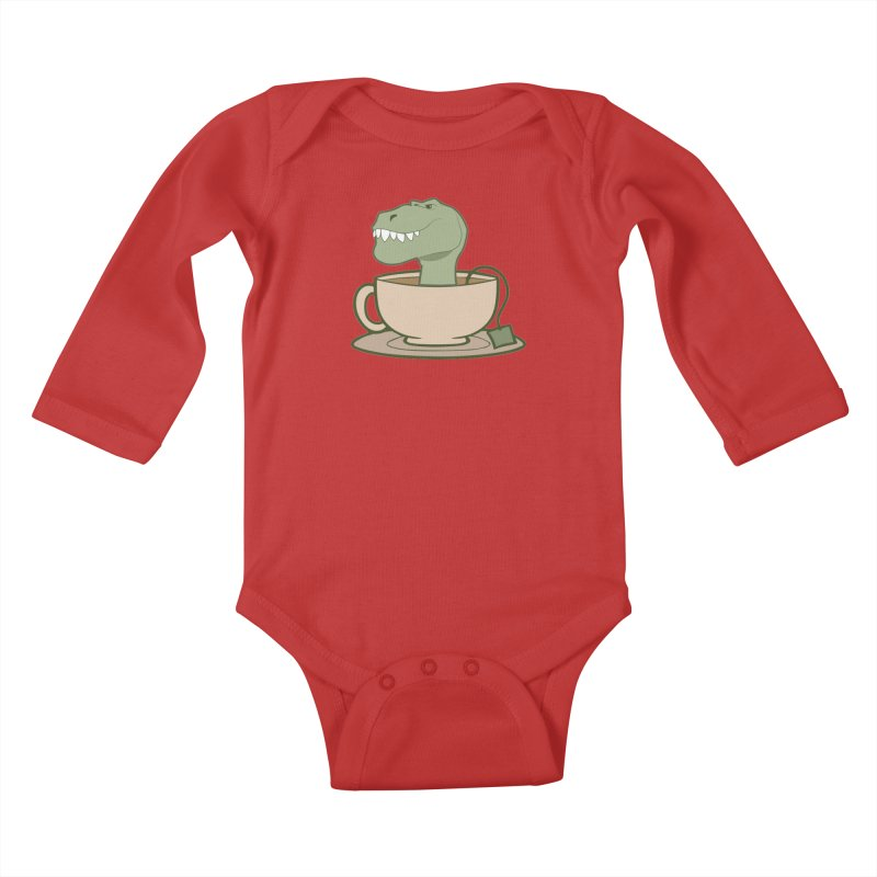 Tea Rex Kids Baby Longsleeve Bodysuit by daniac's Artist Shop