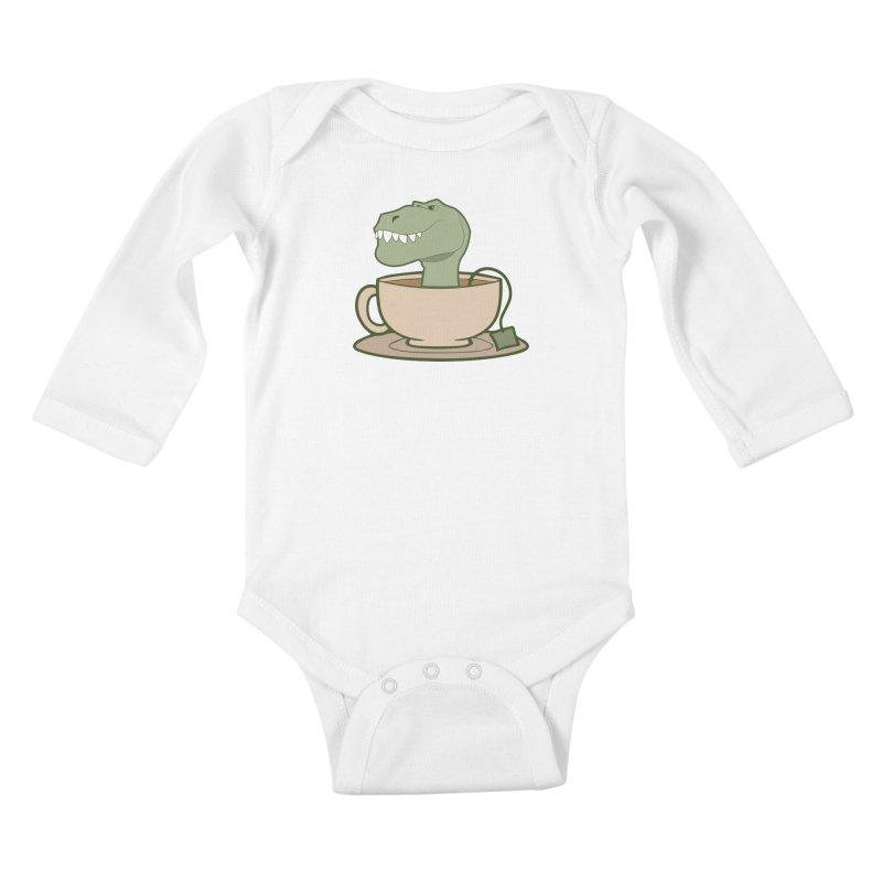 Tea Rex Kids Baby Longsleeve Bodysuit by daniac's Artist Shop