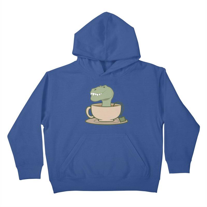 Tea Rex Kids Pullover Hoody by daniac's Artist Shop