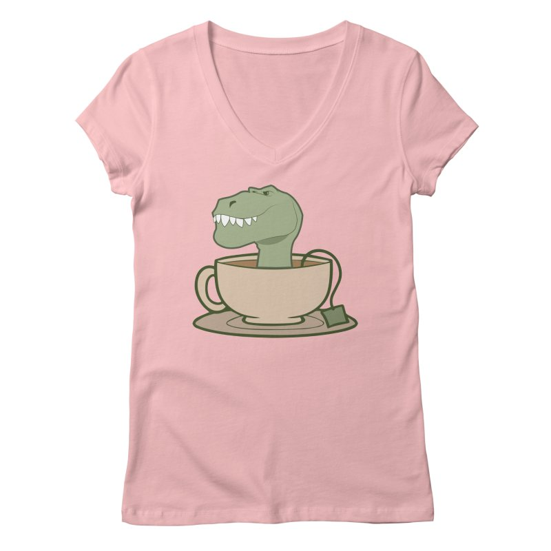 Tea Rex Women's Regular V-Neck by daniac's Artist Shop