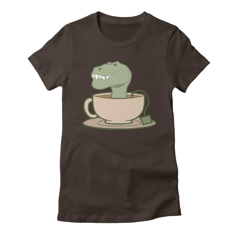 Tea Rex Women's Fitted T-Shirt by daniac's Artist Shop