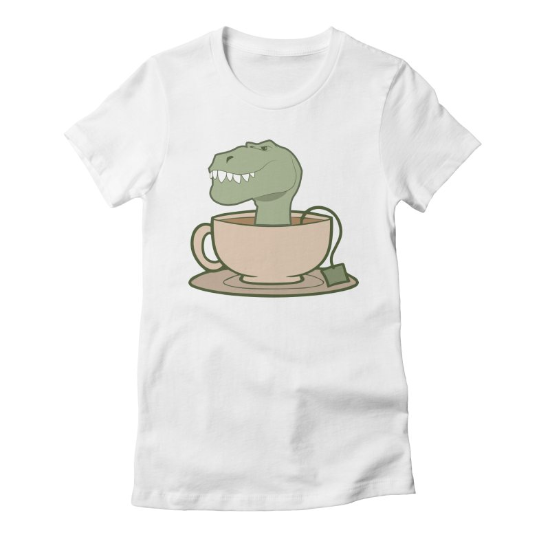 Tea Rex Women's Fitted T-Shirt by daniac's Artist Shop