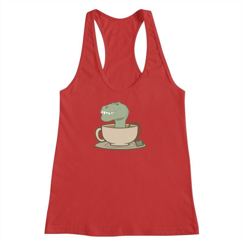 Tea Rex Women's Racerback Tank by daniac's Artist Shop