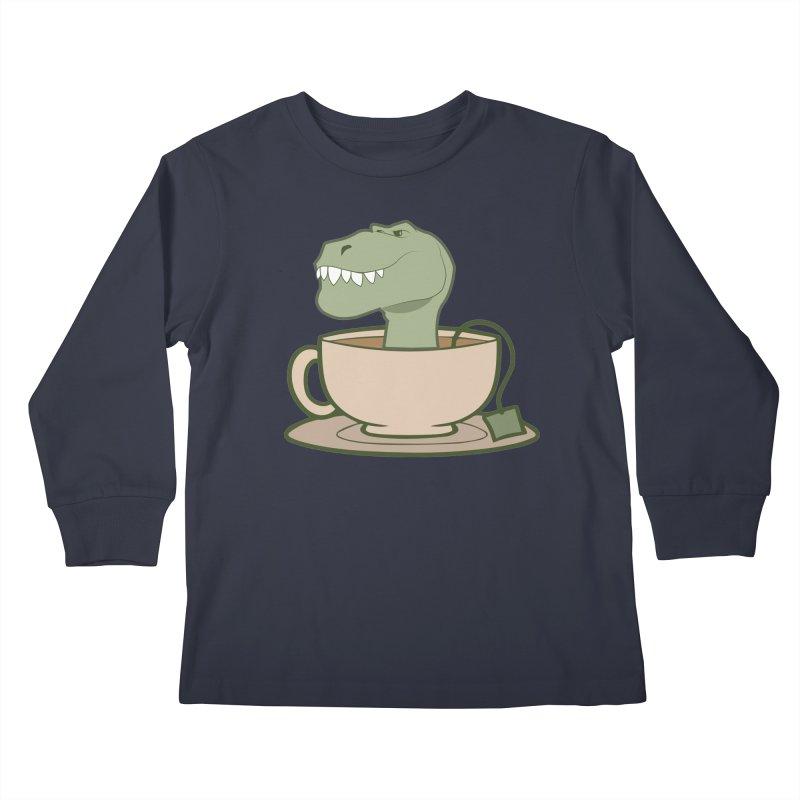 Tea Rex Kids Longsleeve T-Shirt by daniac's Artist Shop