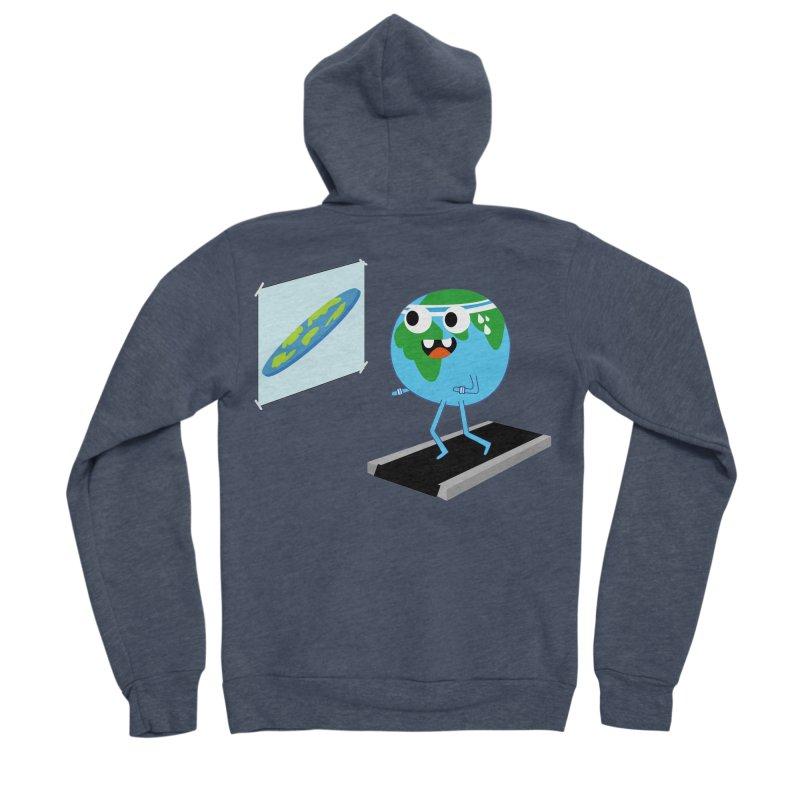 Flat earth Men's Sponge Fleece Zip-Up Hoody by daniac's Artist Shop