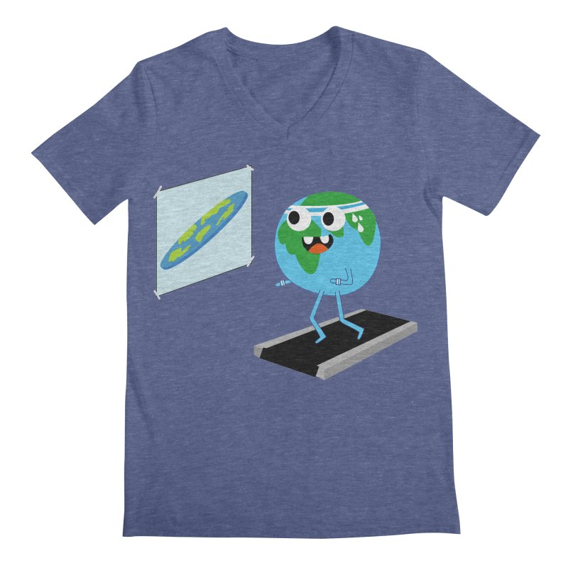 Flat earth Men's Regular V-Neck by daniac's Artist Shop