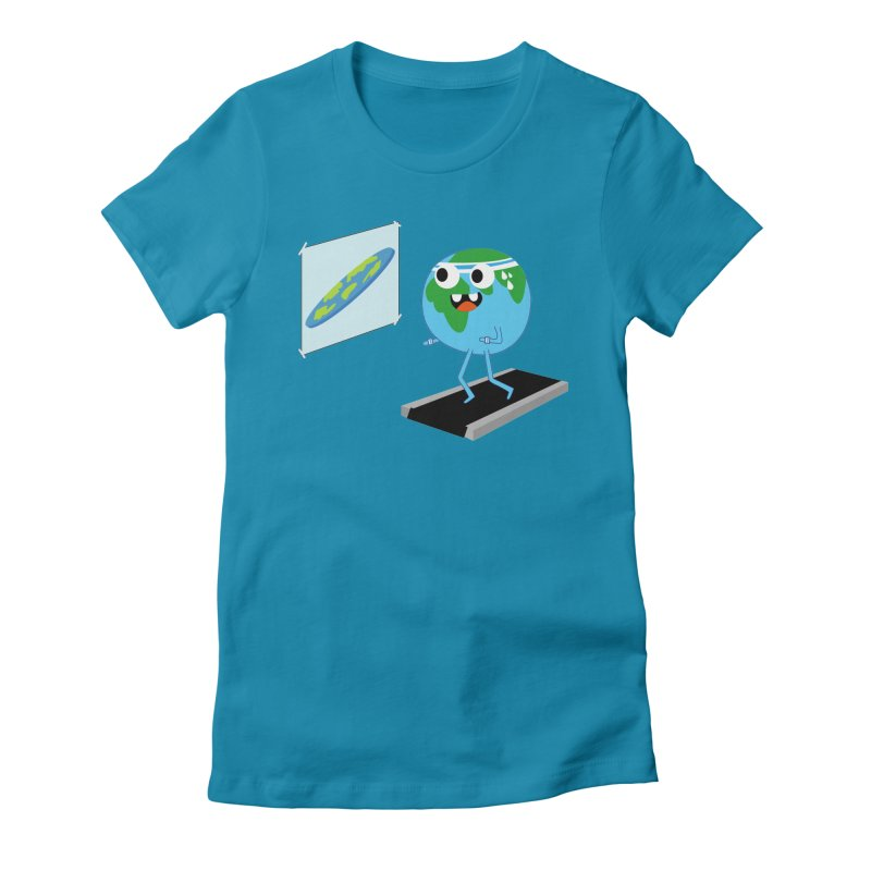 Flat earth Women's Fitted T-Shirt by daniac's Artist Shop