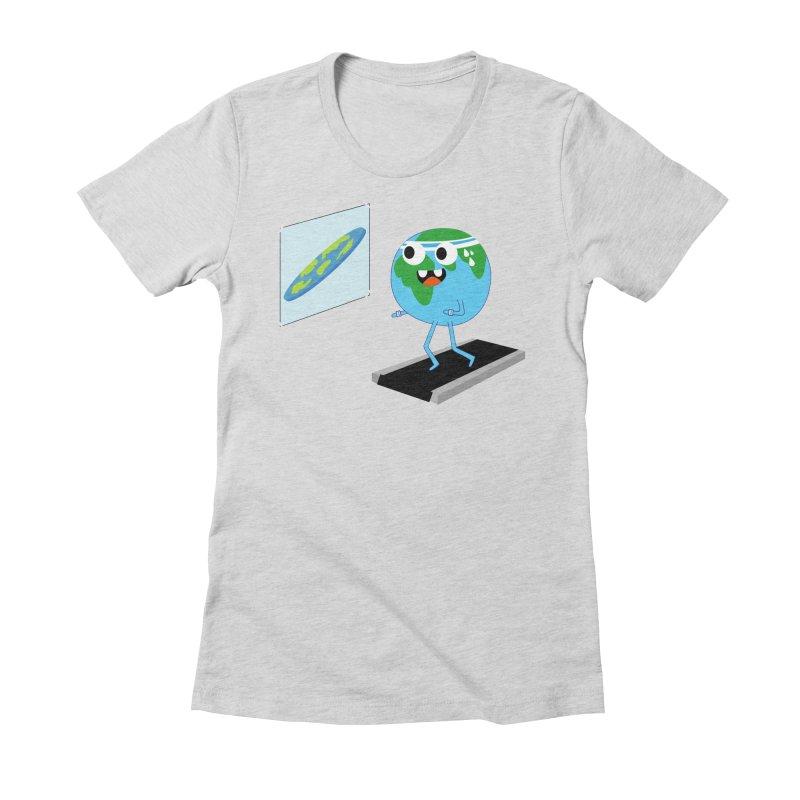 Flat earth Women's Fitted T-Shirt by daniac's Artist Shop