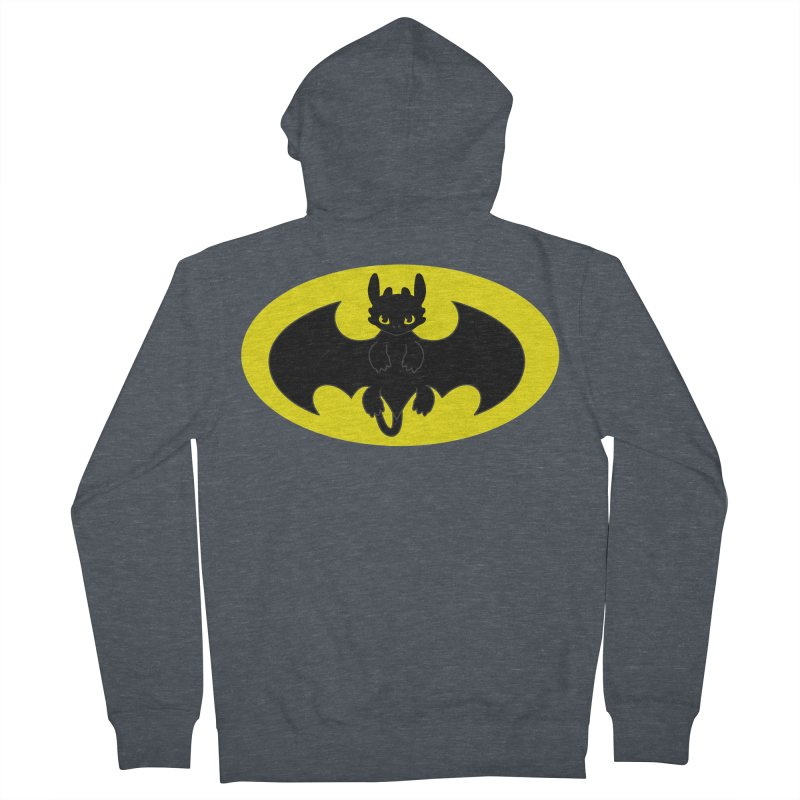 toothless batman Men's French Terry Zip-Up Hoody by daniac's Artist Shop