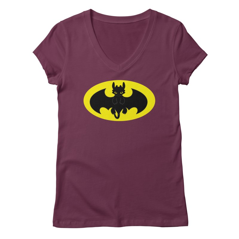 toothless batman Women's Regular V-Neck by daniac's Artist Shop