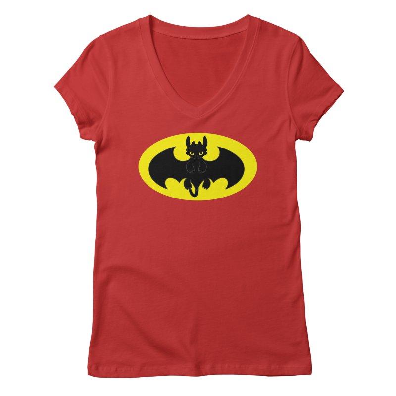 toothless batman Women's Regular V-Neck by daniac's Artist Shop