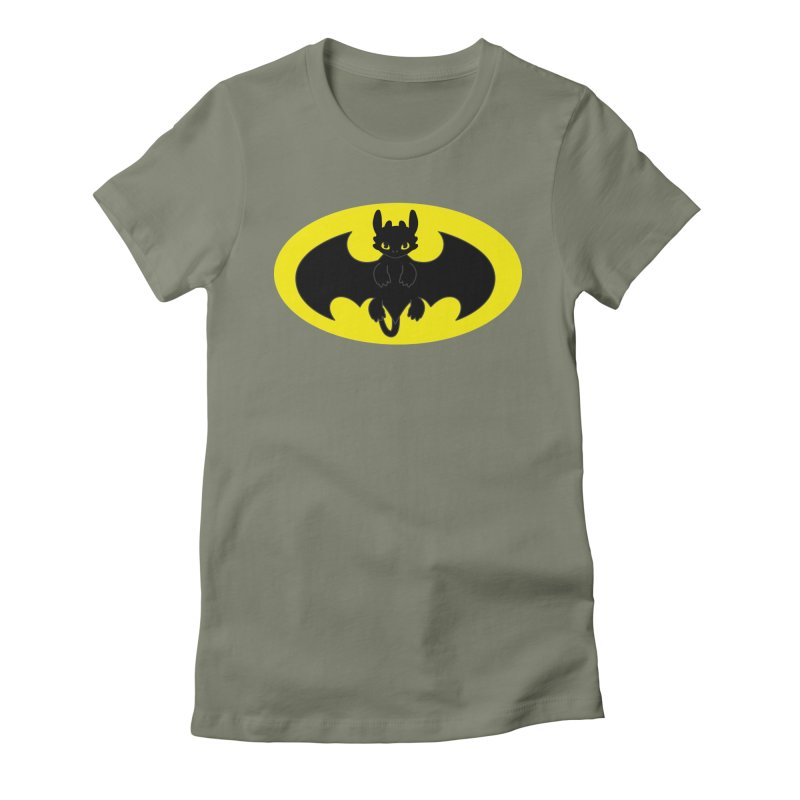 toothless batman Women's Fitted T-Shirt by daniac's Artist Shop