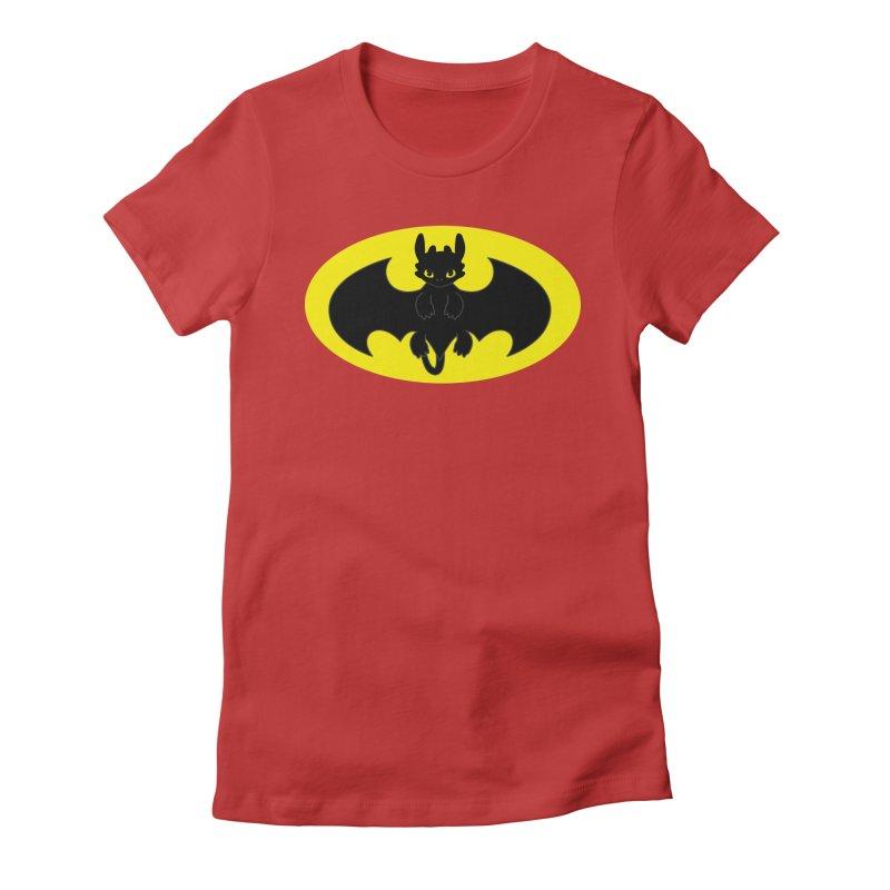 toothless batman Women's Fitted T-Shirt by daniac's Artist Shop