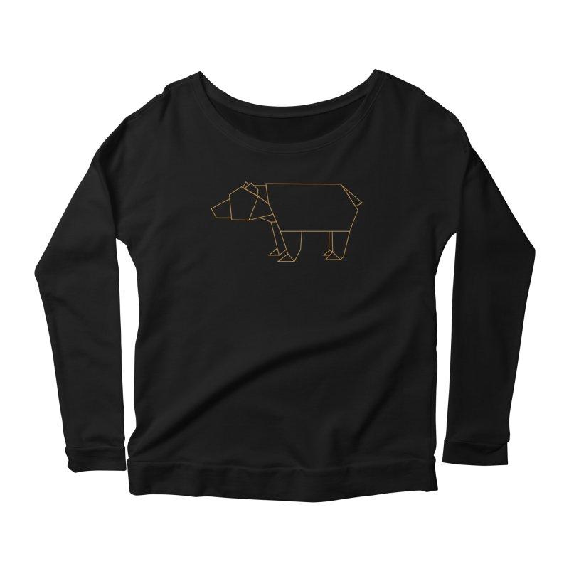Origami Bear Women's Scoop Neck Longsleeve T-Shirt by daniac's Artist Shop