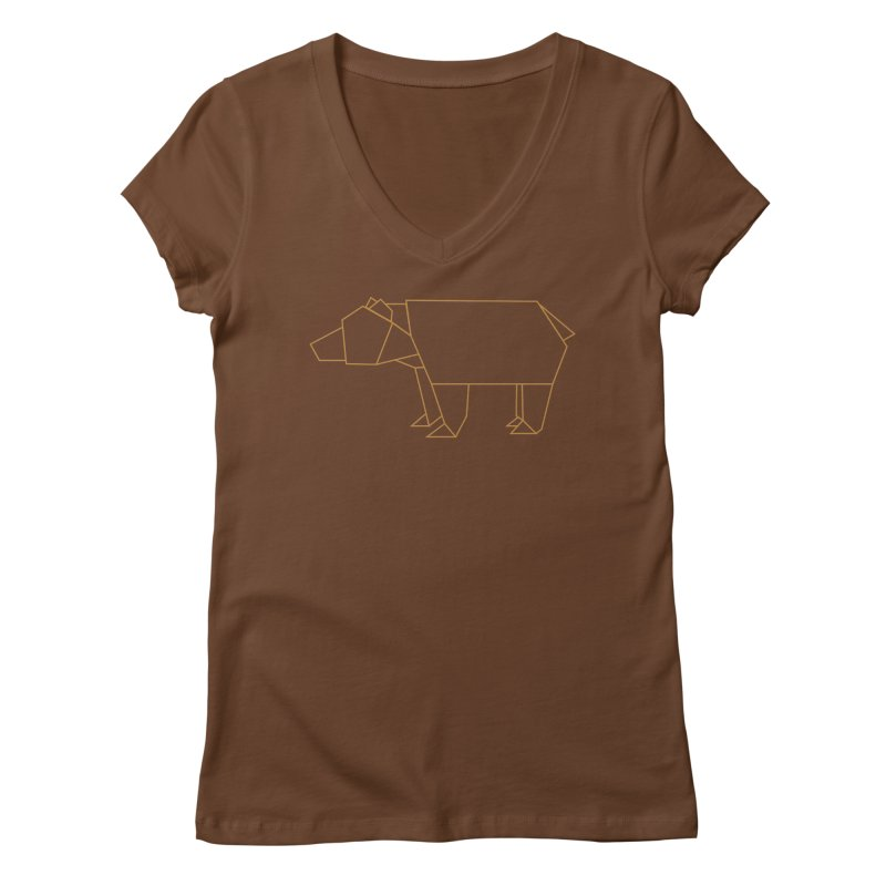 Origami Bear Women's Regular V-Neck by daniac's Artist Shop