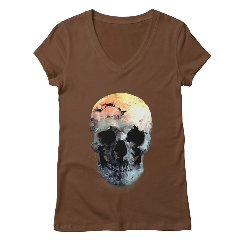 Autumn Skull Women's Regular V-Neck by daniac's Artist Shop