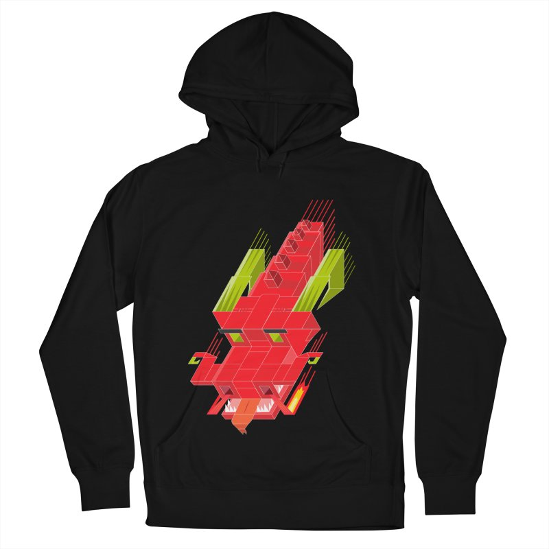Cube Dragon Men's French Terry Pullover Hoody by daniac's Artist Shop
