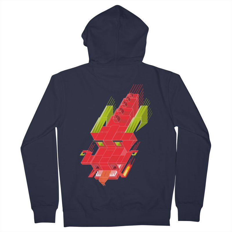 Cube Dragon Men's French Terry Zip-Up Hoody by daniac's Artist Shop