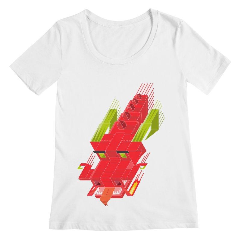 Cube Dragon Women's Regular Scoop Neck by daniac's Artist Shop
