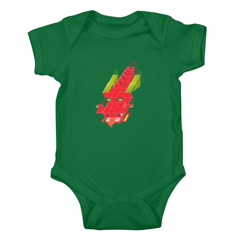 Cube Dragon Kids Baby Bodysuit by daniac's Artist Shop
