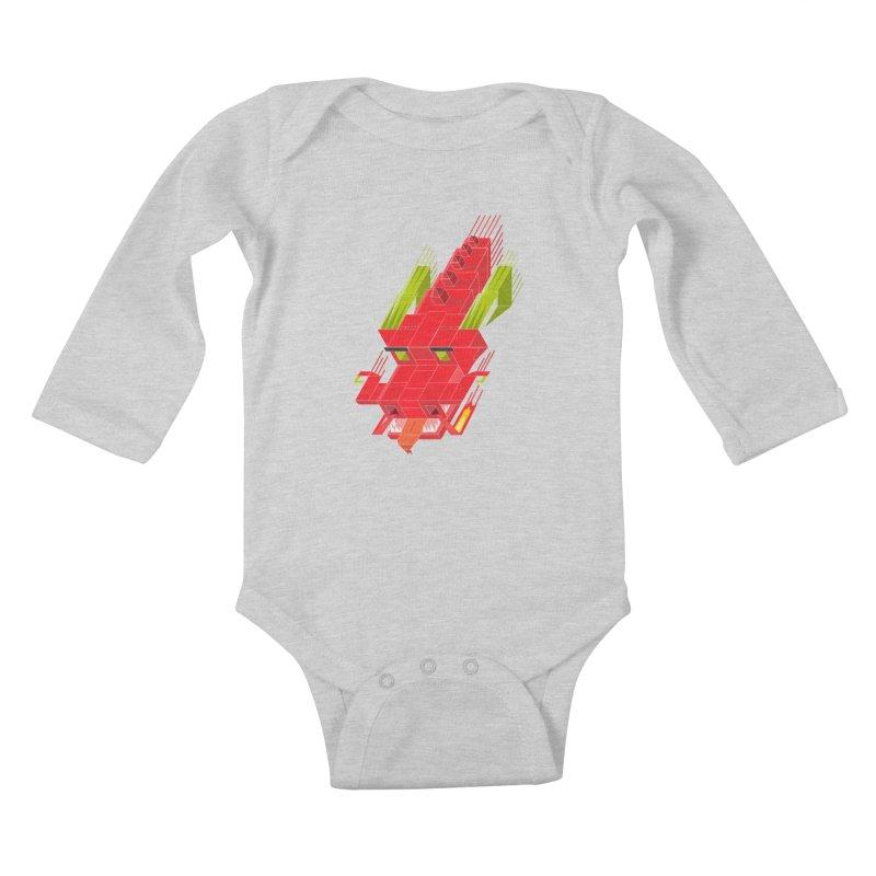 Cube Dragon Kids Baby Longsleeve Bodysuit by daniac's Artist Shop