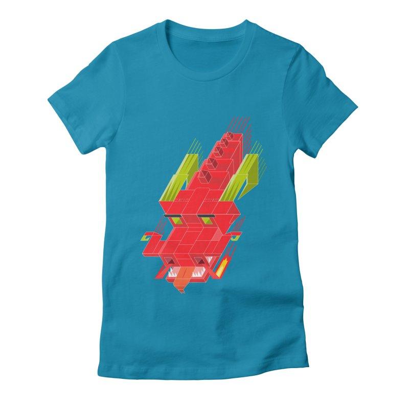 Cube Dragon Women's Fitted T-Shirt by daniac's Artist Shop