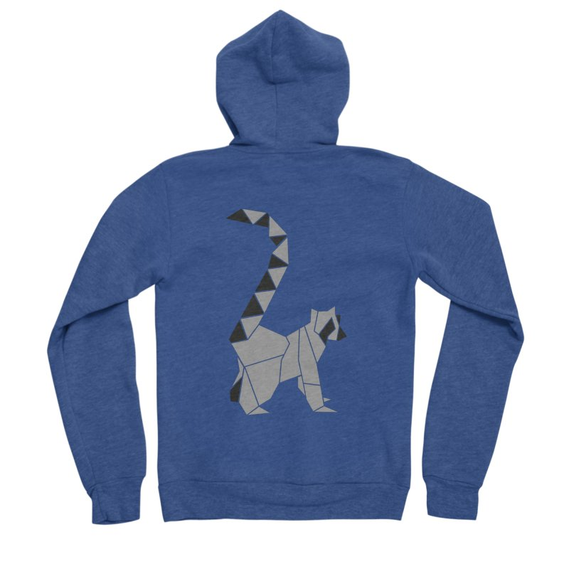 Lemur origami Men's Sponge Fleece Zip-Up Hoody by Synner Design