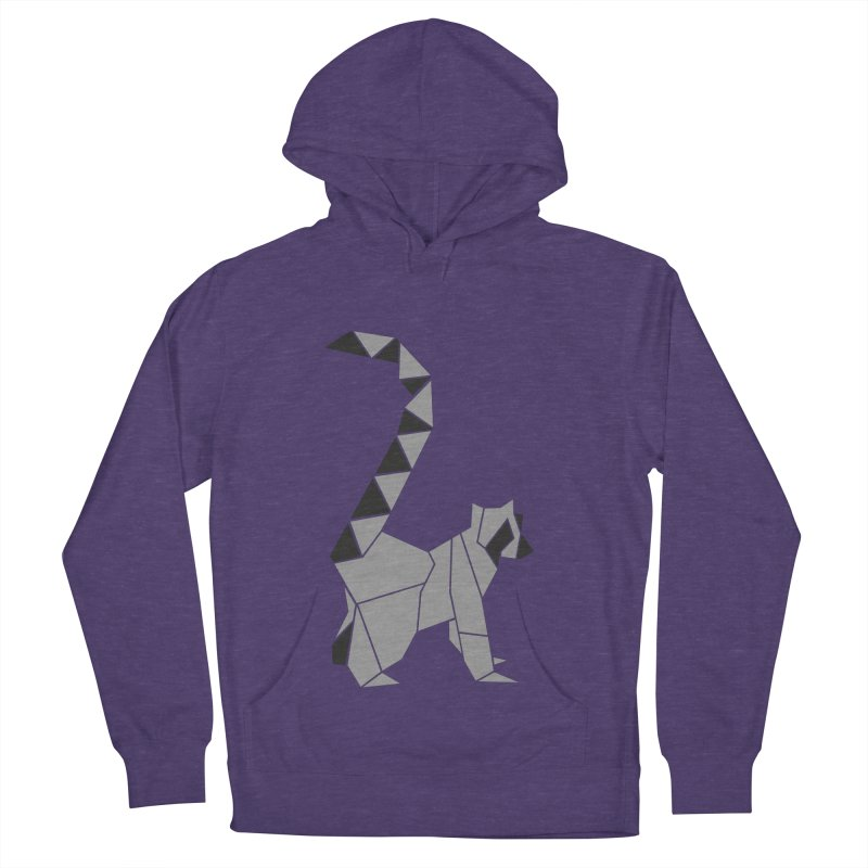 Lemur origami Men's French Terry Pullover Hoody by Synner Design