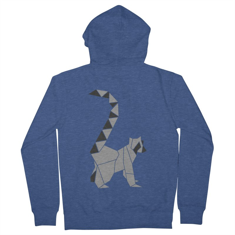 Lemur origami Women's French Terry Zip-Up Hoody by Synner Design