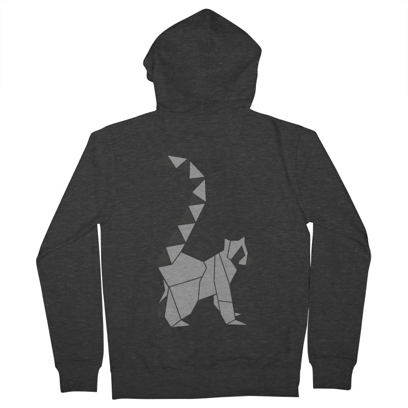 Lemur origami Men's French Terry Zip-Up Hoody by Synner Design