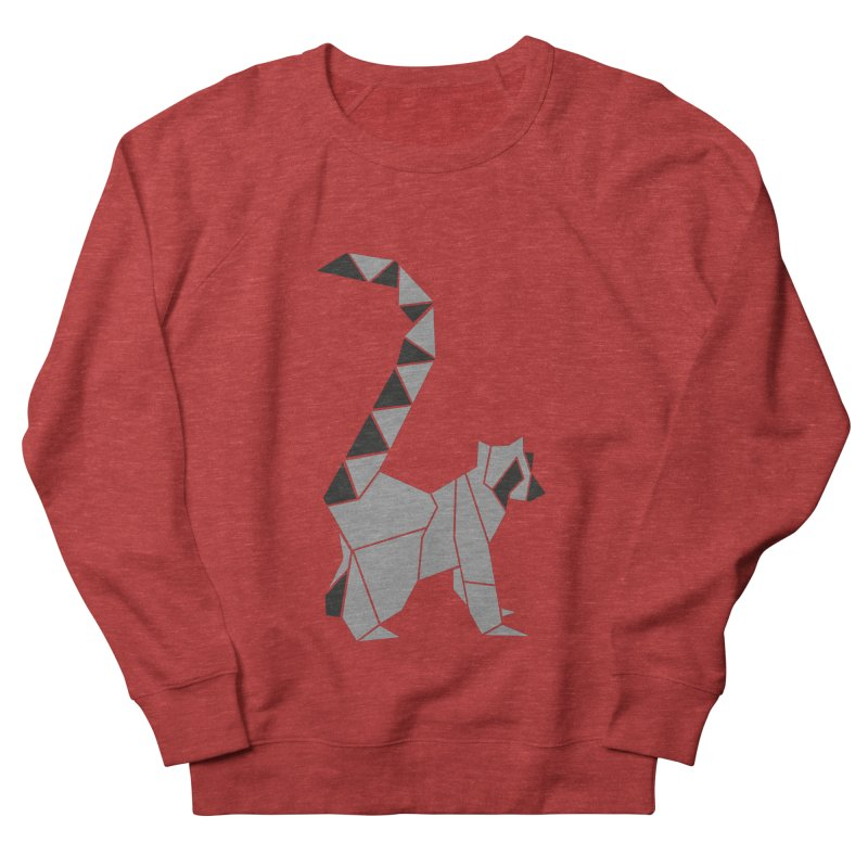 Lemur origami Women's French Terry Sweatshirt by Synner Design
