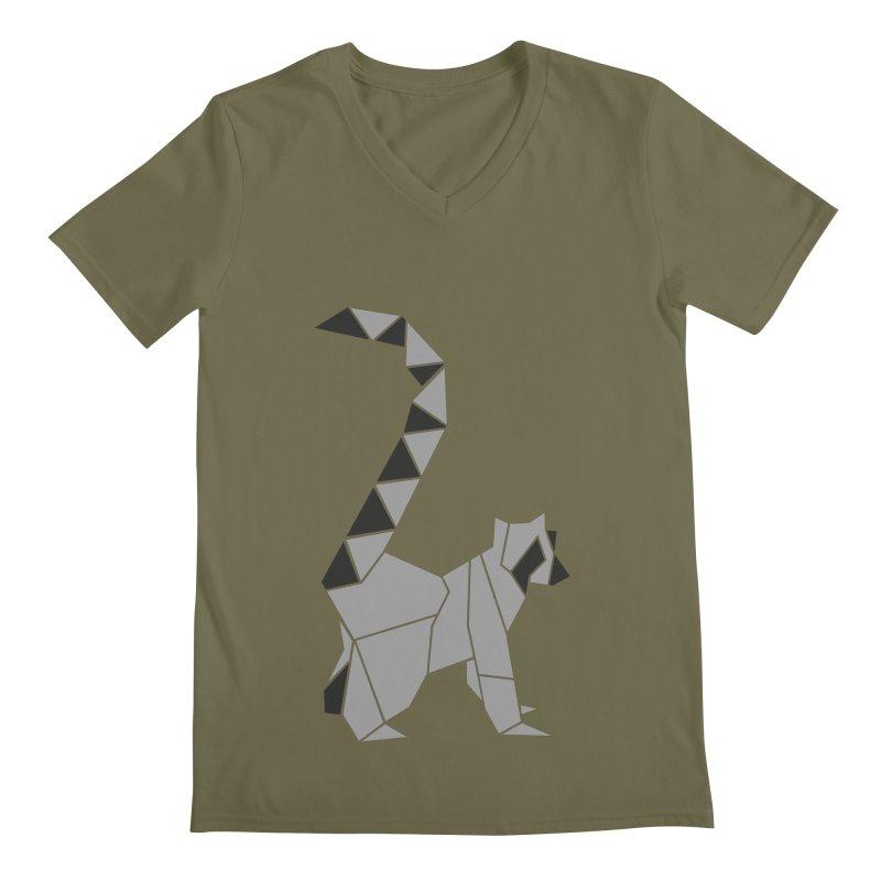 Lemur origami Men's Regular V-Neck by Synner Design