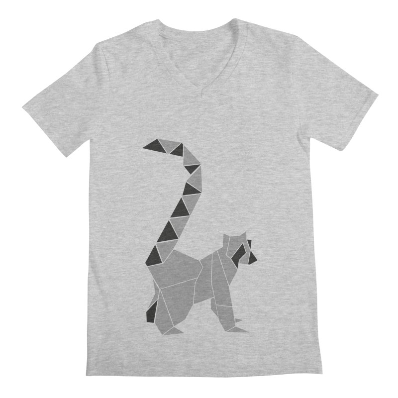 Lemur origami Men's Regular V-Neck by Synner Design