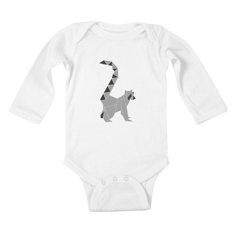 Lemur origami Kids Baby Longsleeve Bodysuit by Synner Design