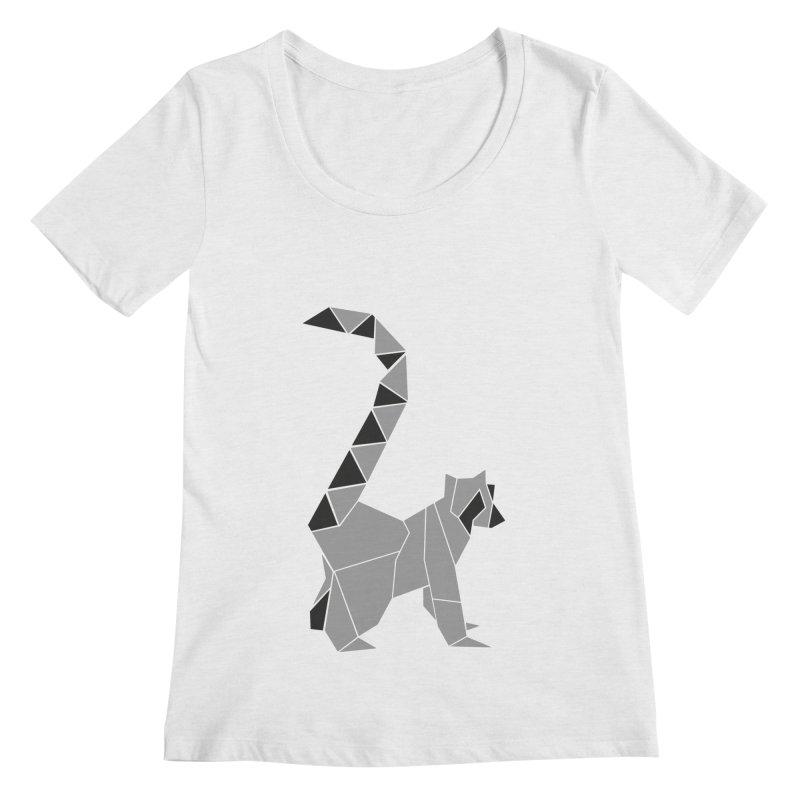 Lemur origami Women's Regular Scoop Neck by Synner Design