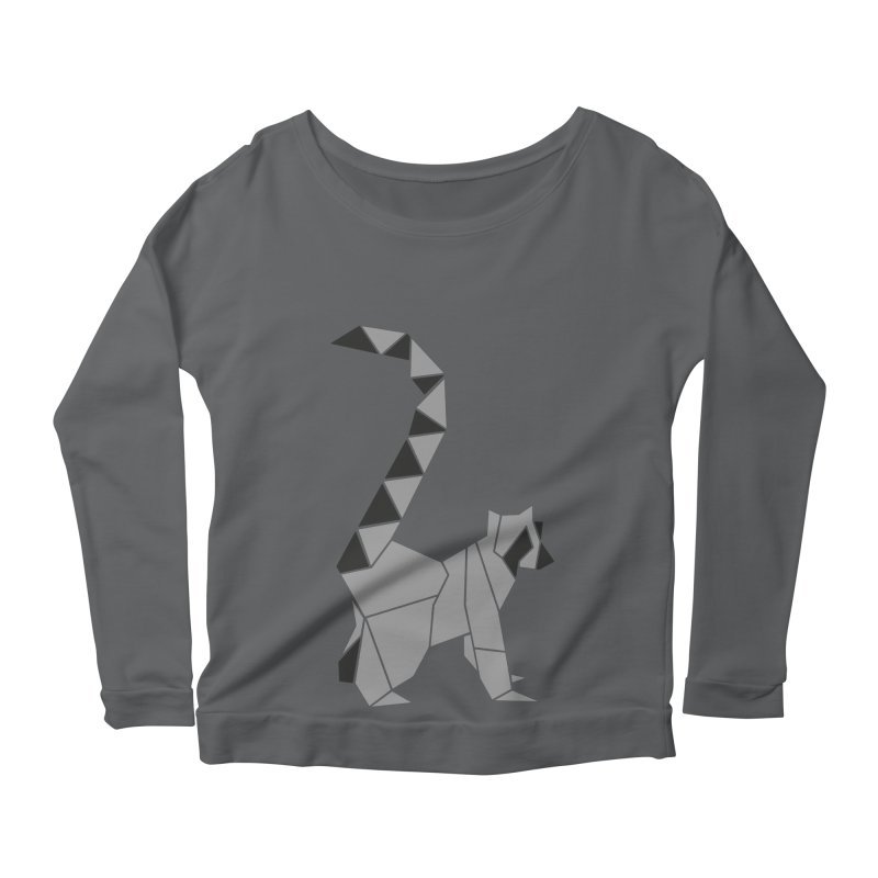 Lemur origami Women's Scoop Neck Longsleeve T-Shirt by Synner Design