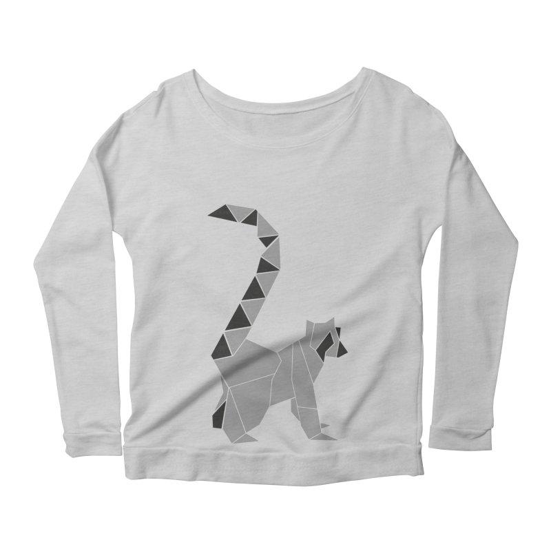 Lemur origami Women's Scoop Neck Longsleeve T-Shirt by Synner Design