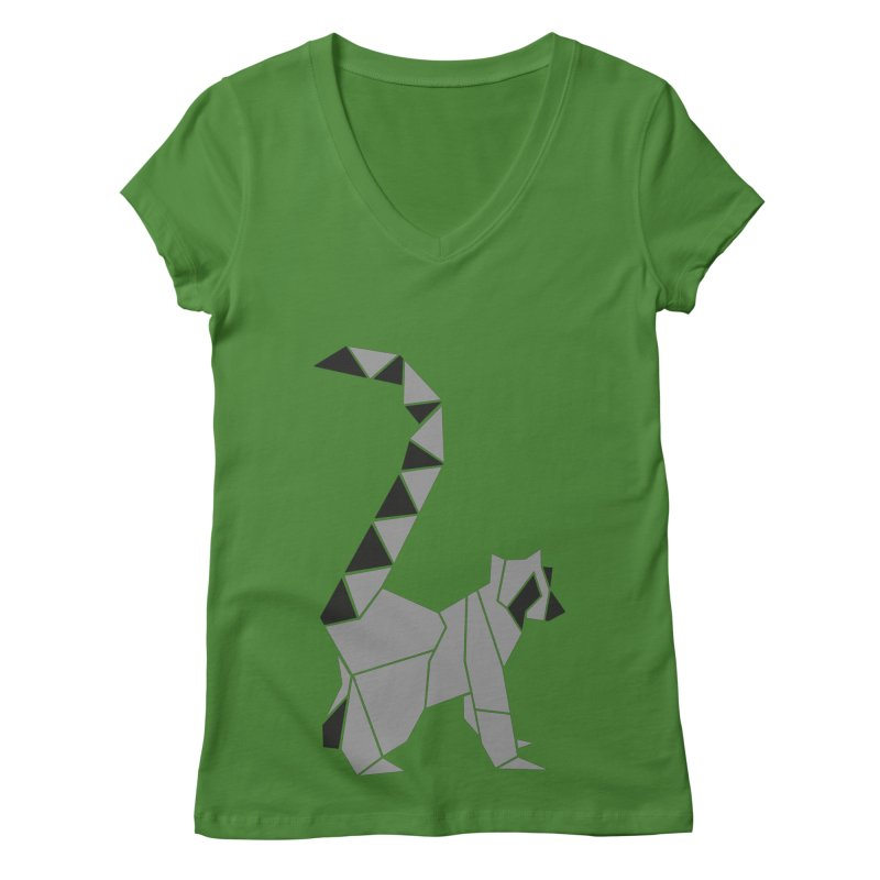 Lemur origami Women's Regular V-Neck by Synner Design