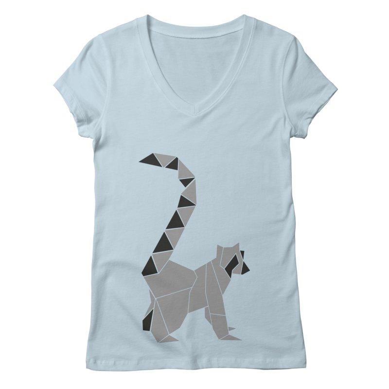 Lemur origami Women's Regular V-Neck by Synner Design